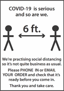 Social Distancing: Please call or email first!